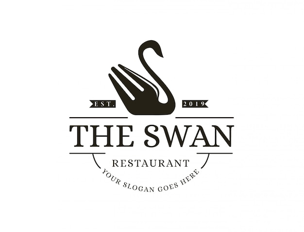 Vintage hipster retro swan fork restaurant cafe logo