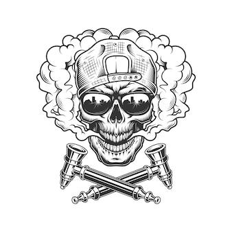 Cranio di hipster vintage in nuvola di fumo