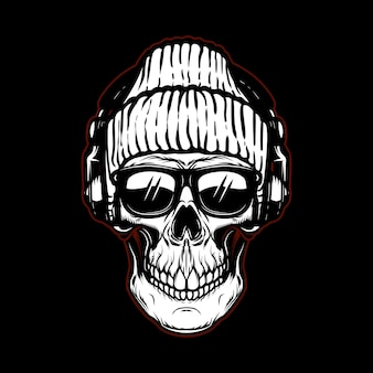 Vintage hipster skull in sunglasses and headphones.