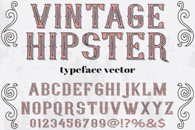 Vintage hipster typeface label design