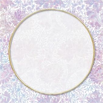 Винтажная голографическая пастельная рамка-ремикс в рамке с изображением природы уильяма морриса