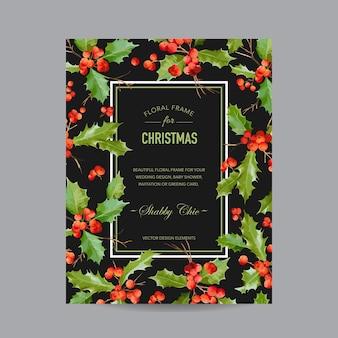 ヴィンテージホーリーベリークリスマスカード