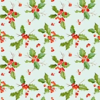 Vintage holy berry seamless christmas pattern