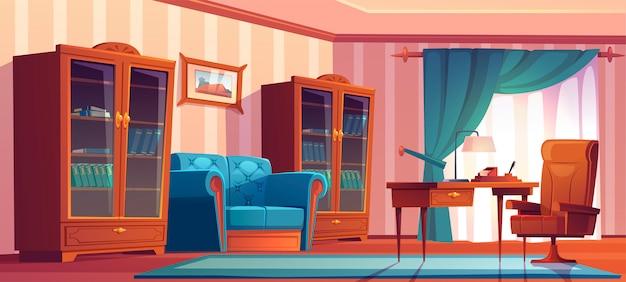 목재 가구, 테이블의 자, 소파 및 책장 빈티지 홈 오피스 인테리어. 블루 커튼, 소파, 책상과 벽에 그림 빈 수석 캐비닛의 만화 그림