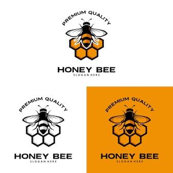 Vintage honey bee logo template illustration vector graphic
