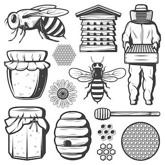 Collezione vintage di elementi di miele con ape alveare mestolo bastone fiore favi apicoltore vaso vaso isolato