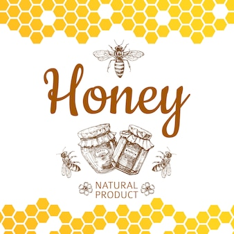 Vintage honey logo and background with  bee, honey jars and honeycombs