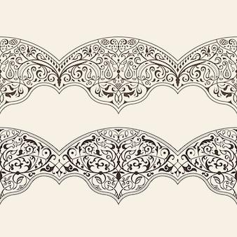 ヴィンテージ水平シームレスパターンライン飾りデザイン