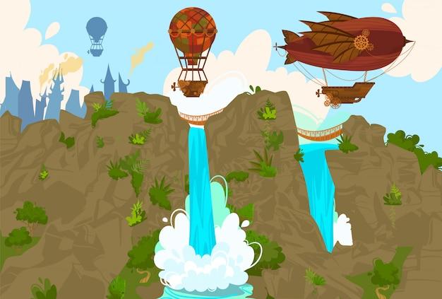 ビンテージ熱気球と自然、ウォーターパークのスチームパンク漫画イラスト、空の旅でレトロな飛行で飛行船。