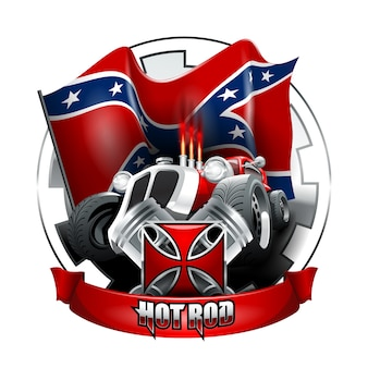 Vintage hot rod logo for printing on t-shirts or posters
