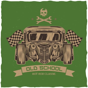 Vintage hot rod t-shirt  design with illustration of custom speed car.