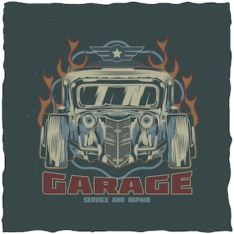 Vintage hot rod t-shirt label design with illustration of custom speed car. hand drawn illustration.
