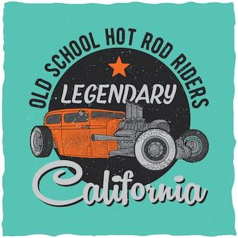 Design vintage dell'etichetta della t-shirt hot rod con illustrazione di un'auto personalizzata.