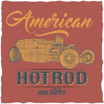 Design vintage dell'etichetta della maglietta hot rod con illustrazione di un'auto personalizzata