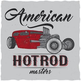 カスタムスピードカーのイラストを使用したヴィンテージホットロッドtシャツのラベルデザイン。手描きイラスト。