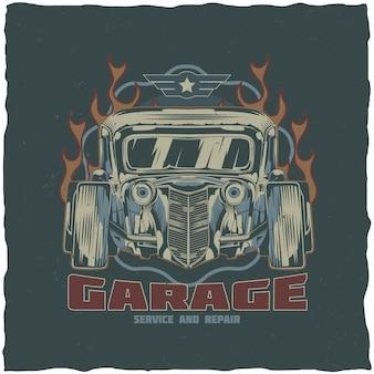 Винтажный дизайн этикетки футболки хотрод с иллюстрацией нестандартной скорости автомобиля. рисованной иллюстрации.