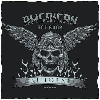 Винтажный дизайн этикетки футболки хотрод с изображением черепа водителя в очках и крыльях. рисованной иллюстрации.