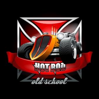 Логотип vintage hot rod для печати на футболках или плакатах