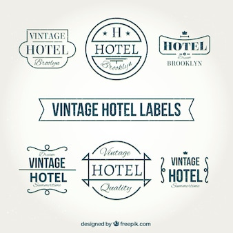 Vintage hotel labels in retro style