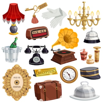 Vintage hotel staff icon set