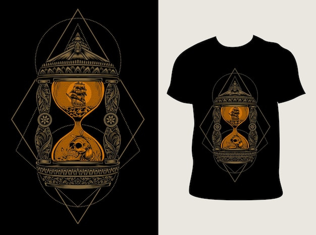 Tシャツのデザインとヴィンテージ砂時計のイラスト