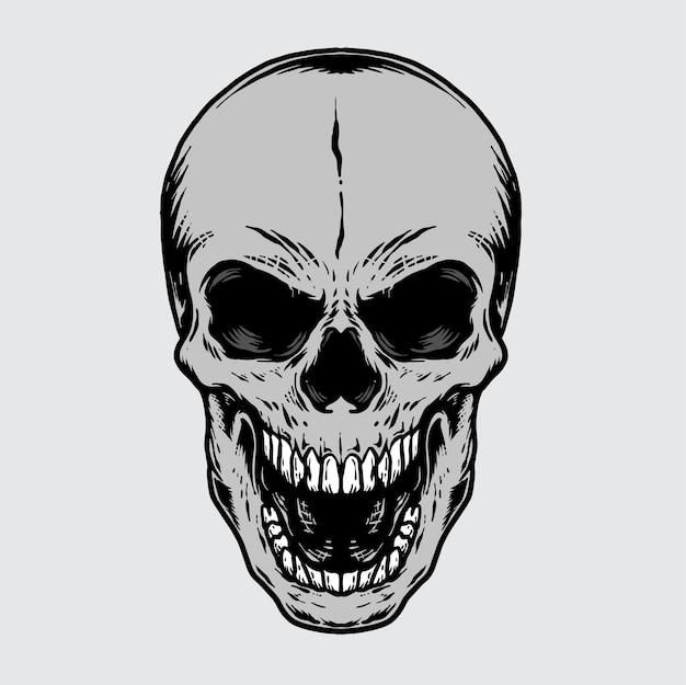 ヴィンテージ人間の頭蓋骨イラストモノクロ