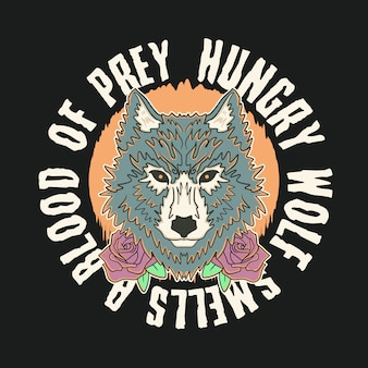 Vintage hungry wolf illustration premium