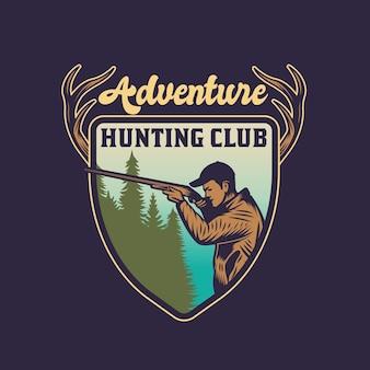 Vintage hunter with gun hunting and adventure emblem badge
