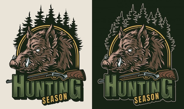 Vintage hunting colorful logo