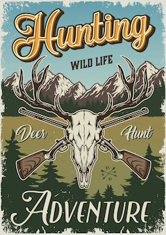Vintage hunting colorful poster