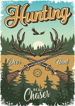Vintage hunting colorful template