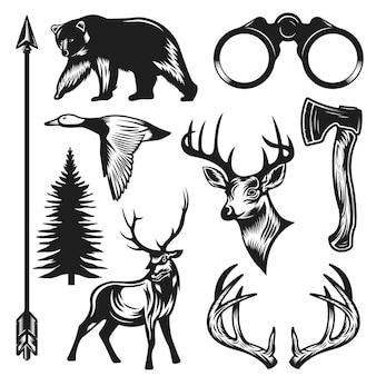 빈티지 사냥 요소 컬렉션