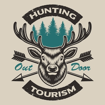 Vintage hunting emblem with a deer and crossed arrows, also perfect for shirt design and logos