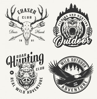 Vintage hunting emblems set
