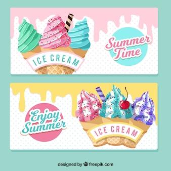 빈티지 아이스크림 배너