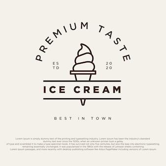 ヴィンテージアイスクリームショップのロゴバッジとラベルジェラテリアサインクラシックレトロロゴタイプ