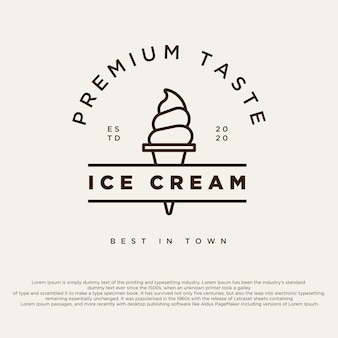 Vintage ice cream shop logo badges and labels gelateria signs classic retro logotype