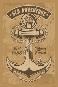 Vintage illustration of an anchor with rope. all elements and text are in separate groups.