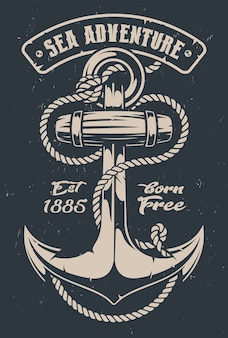 Vintage illustration of an anchor with rope on dark background. all elements and text are in separate groups.