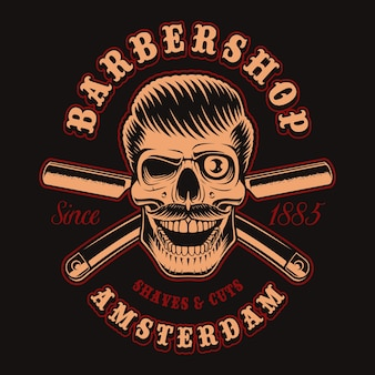 Vintage illustration of barber skull with crossed razor on the dark background. this  is perfect for logos, shirt prints and many other uses.