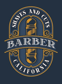 Vintage illustration for the barbershop on the dark background. all elements of lettering and text are in separate groups