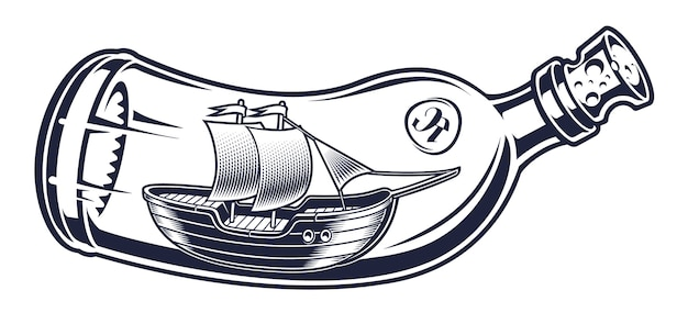Vintage illustration of a bottle with ship inside on the white background. all elements are isolated and can be used separately