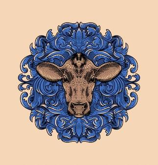 Винтажная иллюстрация коровья голова с голубым орнаментом в стиле гравюры
