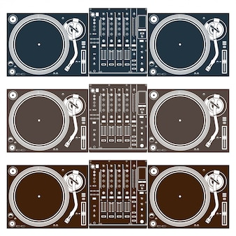 Vintage illustration of dj mixing turntable set vector