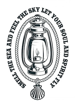 Vintage illustration of a kerosene lamp with rope and shells.