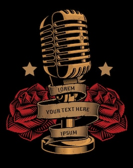 Vintage illustration of a microphone with roses and a ribbon on the dark background. all elements and text are in separate groups.