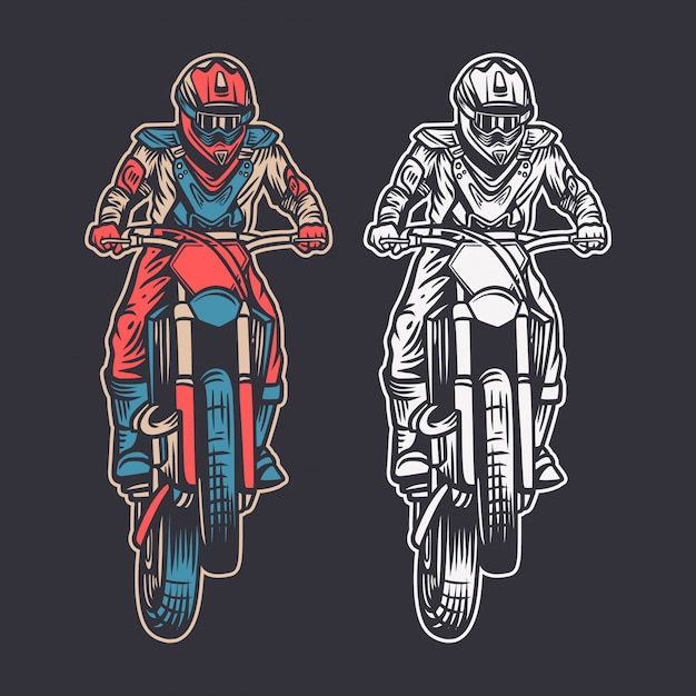 Vintage illustration motocross front view