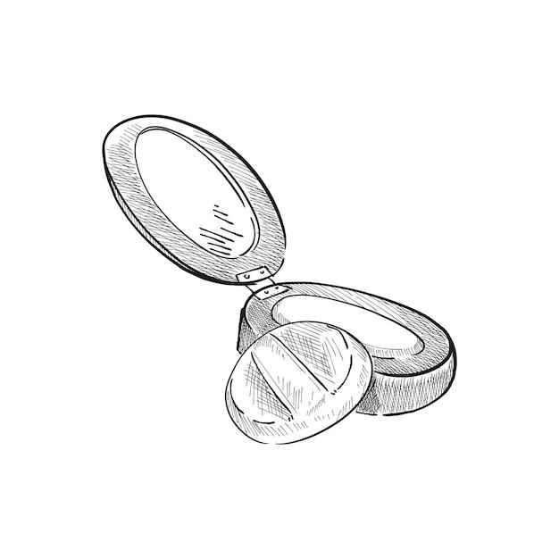 Винтажная иллюстрация компактного порошка