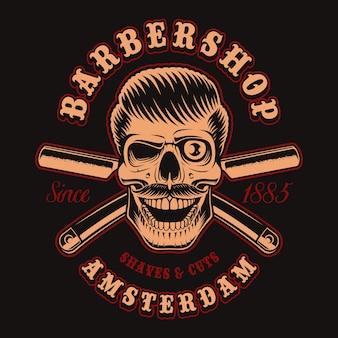 Винтажная иллюстрация черепа парикмахера со скрещенной бритвой на темном фоне. это идеально подходит для логотипов, принтов на рубашках и многих других целей.