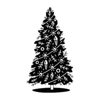 クリスマスツリーのヴィンテージイラスト。黒のシルエット。白色の背景。